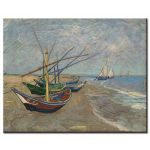 Πίνακας Vincent Van Gogh - Fishing Boats on the Beach at Saintes-Maries 1888