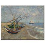 Πίνακας Vincent Van Gogh - Fishing Boats on the Beach at Saintes-Maries 1888
