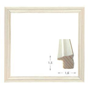 Κορνίζα ξύλινη - Λευκή Ντεκαπέ 1.5εκ.Χ1.6εκ.
