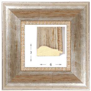 Κορνίζα ξύλινη - Ασημί ΙΙ 3εκ.Χ6εκ.