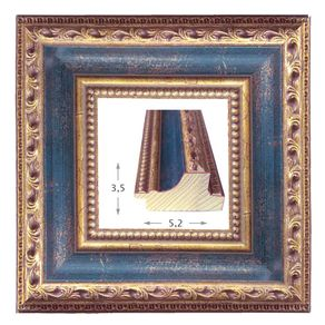 Κορνίζα ξύλινη - Χρυσή μπλέ 3.5εκ.Χ5.3εκ.